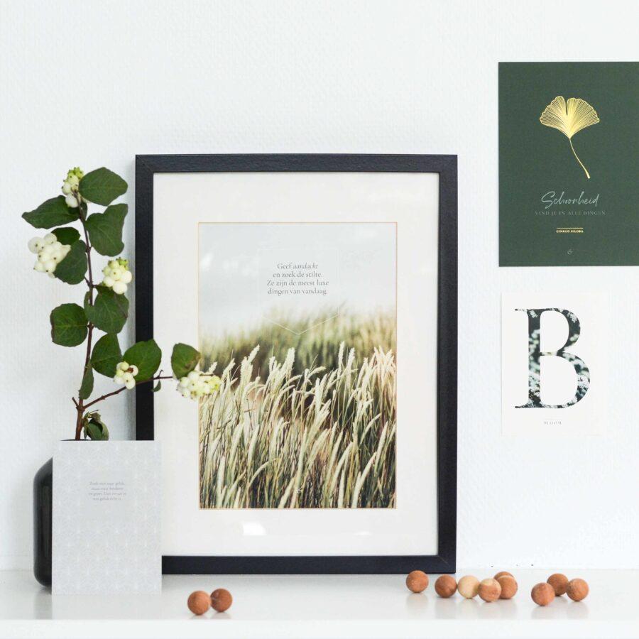 Essencio - Eerste essentie - Posterset - A 4 - Stilte betekenis natuur aandacht