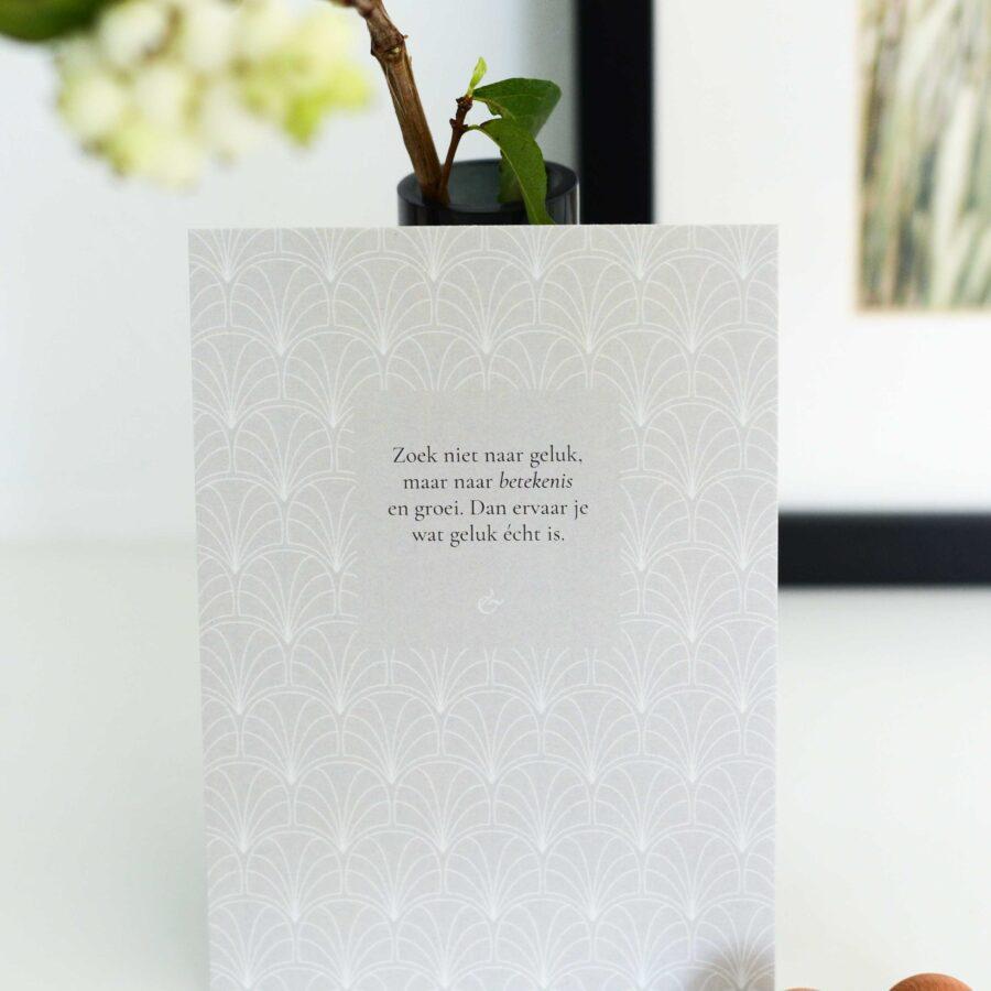 Essencio - Ansichtkaart - Zoek niet naar geluk maar naar betekenis en groei - interieur kaart