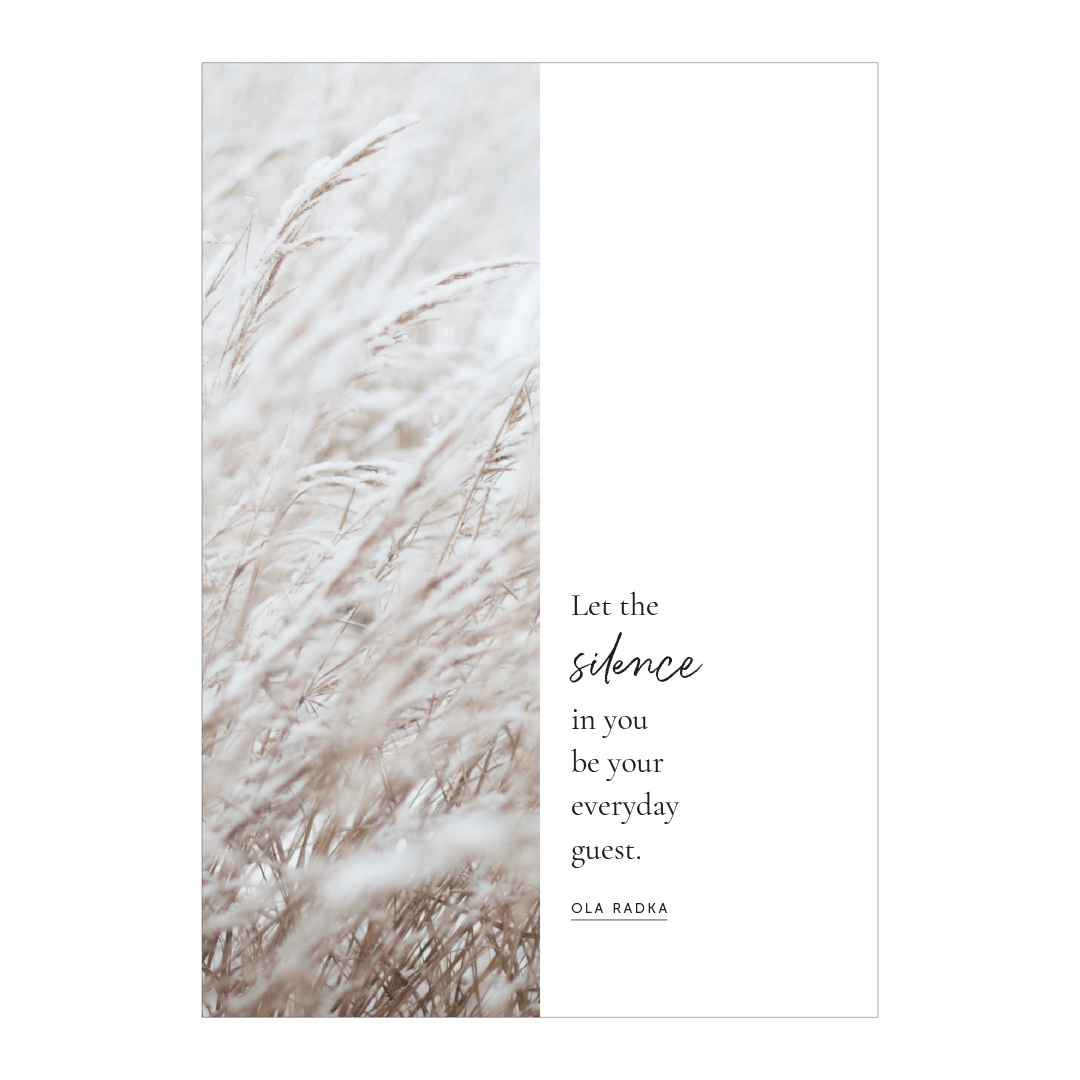 Essencio - Affirmatieposter - Let the silence be your everyday guest